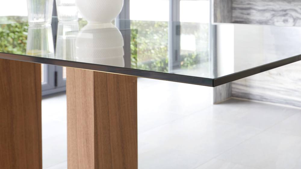 wood and glass table