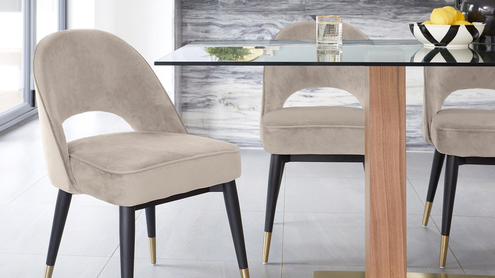 Mia Glass Dining Table with Clover Velvet Chair Set