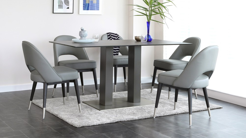mia dining table and clover 6 seater dining set  danetti