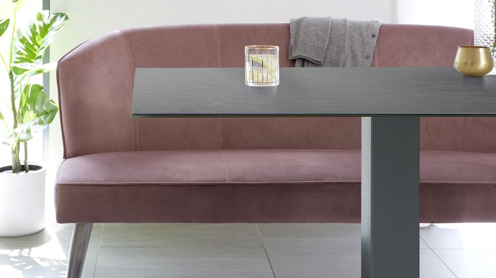 Mia Ceramic Dining Table and Mellow Blush Bench Set