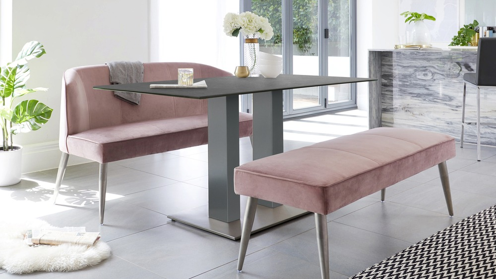 Mia Grey Ceramic Dining Table and Mellow Blush Pink Bench Set