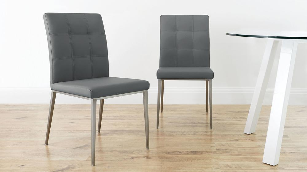 faux leather dining chair brushed steel legs uk