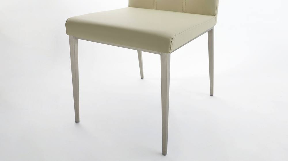 Grey Leather and Metal Legged Dining Chairs