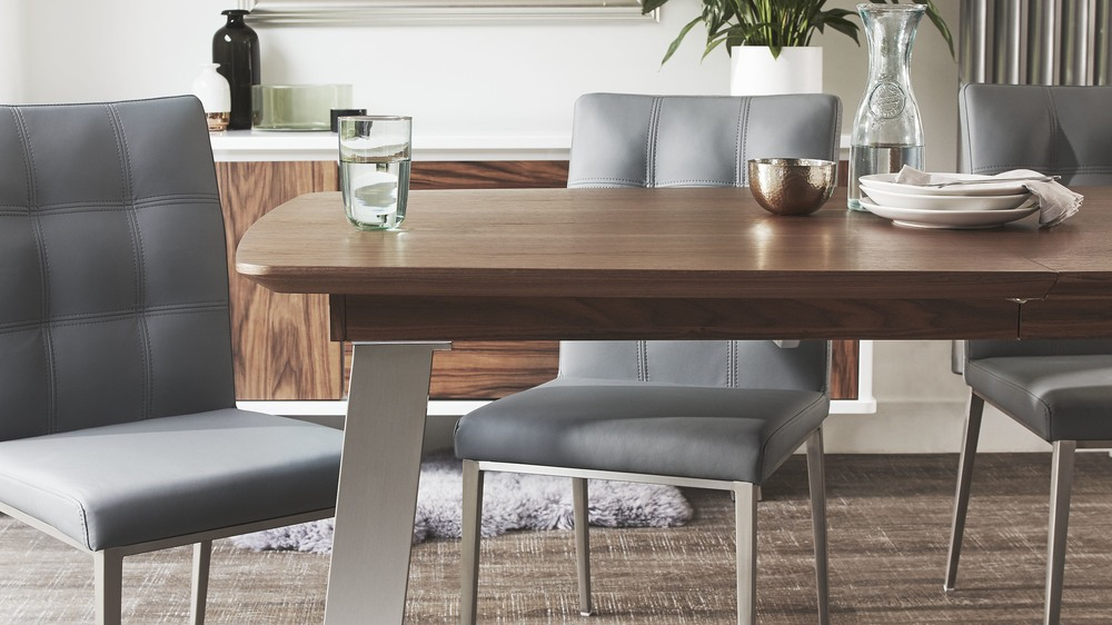 Modern brushed steal dining chairs