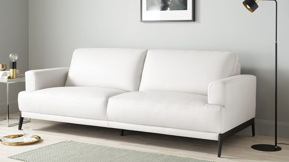 White leather 3 seater sofa
