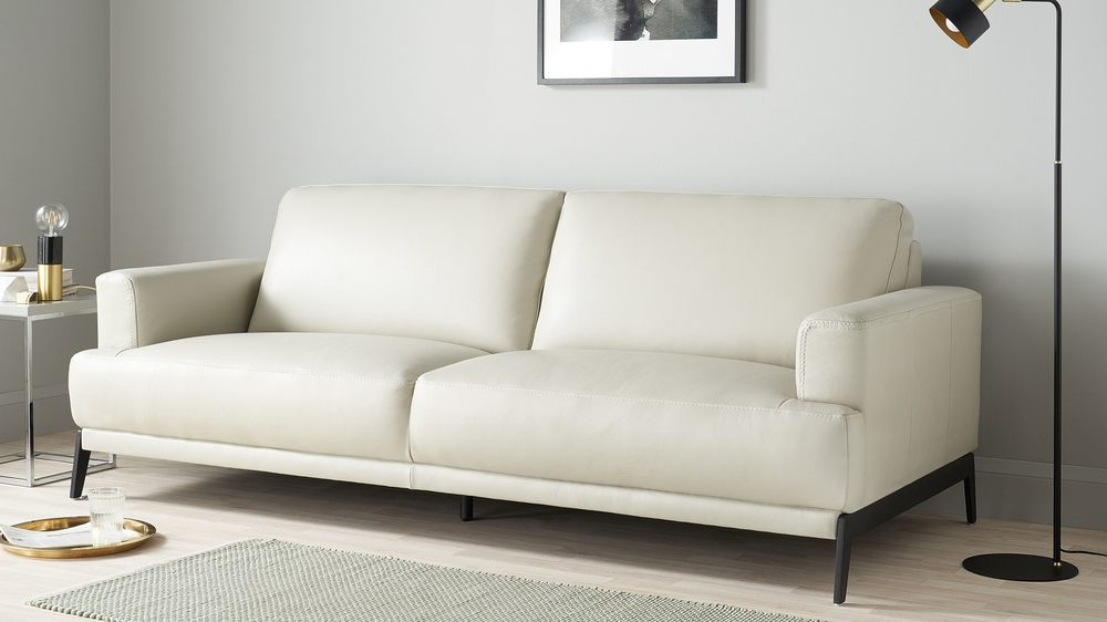 Light grey 3 seater real leather sofa