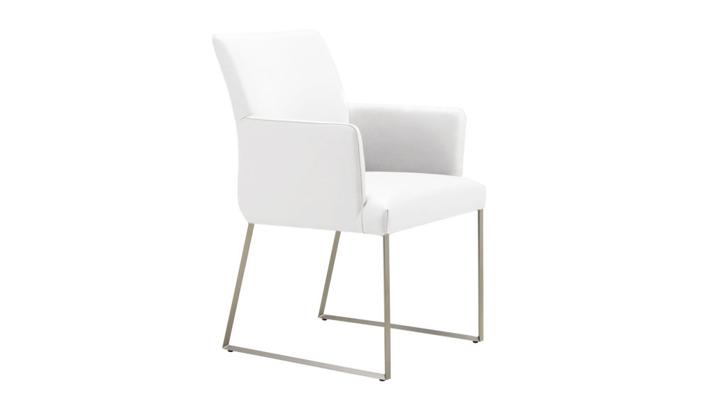 Contemporary White Real Leather Armchair