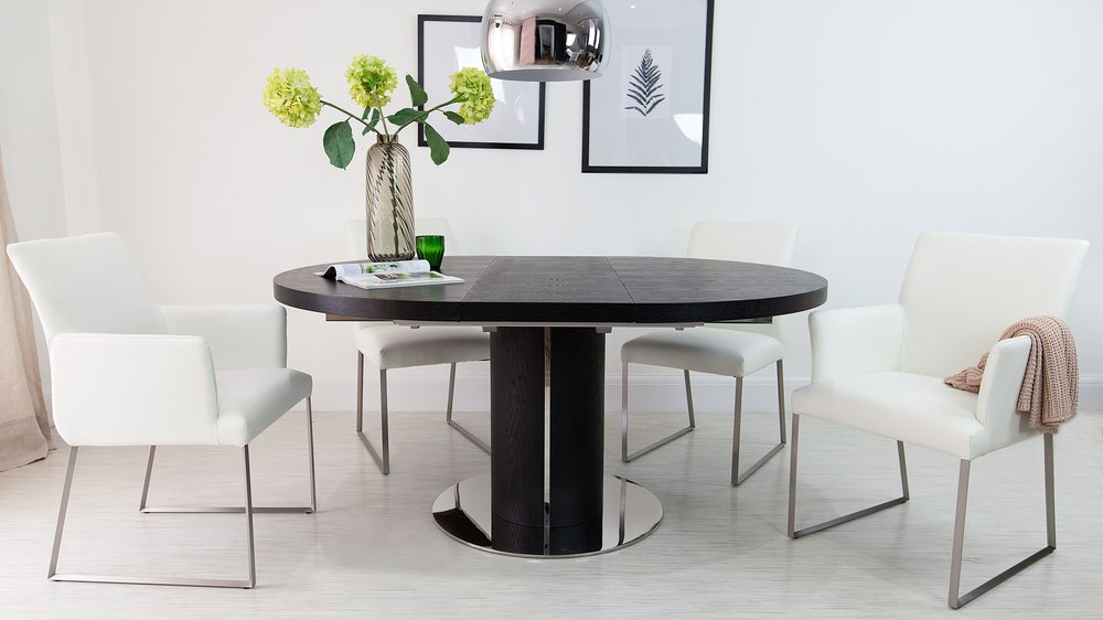 Black and White Real Leather Extending Dining Set