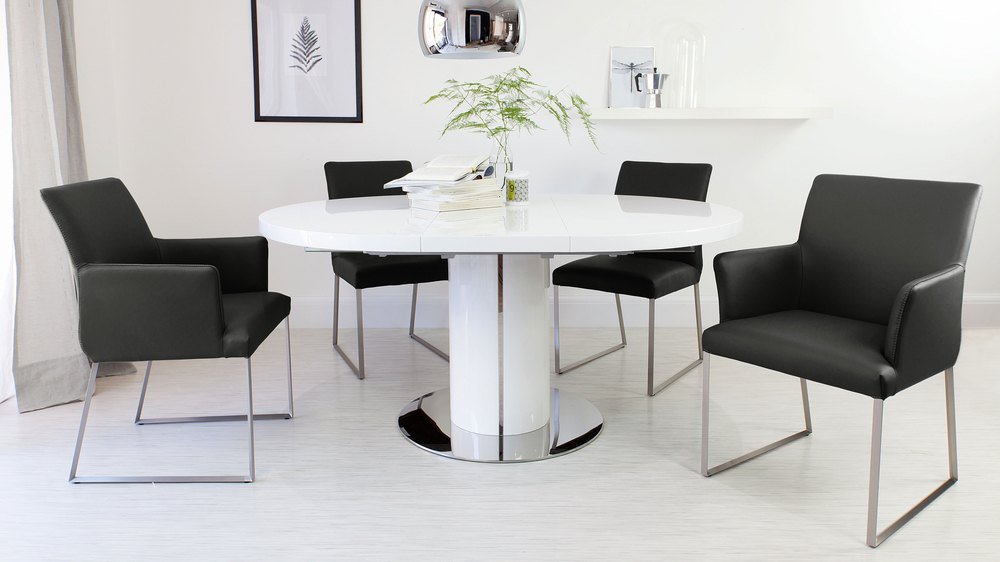 Contemporary White and Black Extending Dining Set
