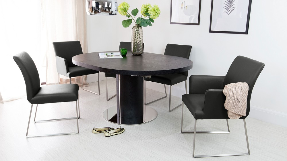 Round Dining Table and Black Real Leather Dining Chairs