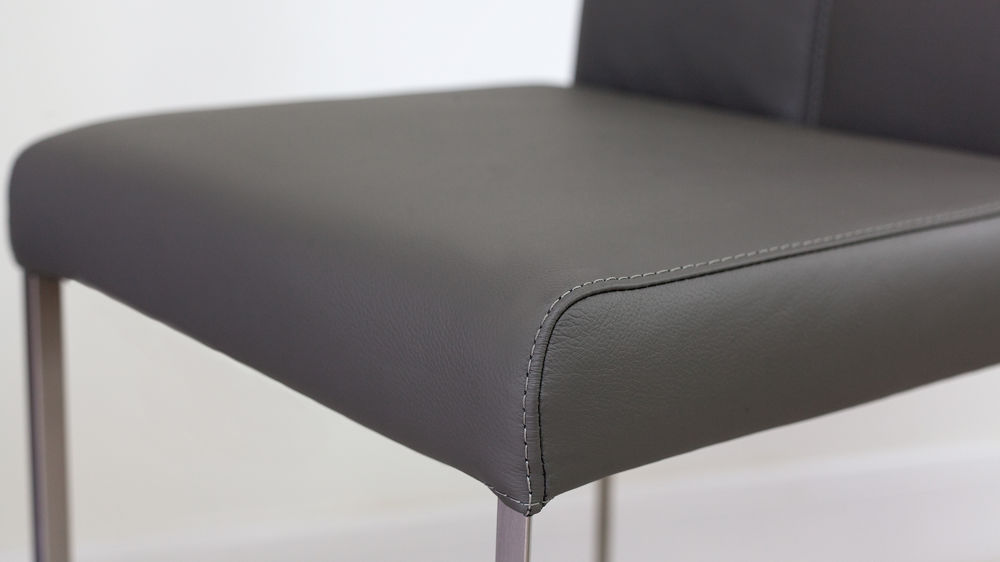 Modern Grey Real Leather Bar Stool