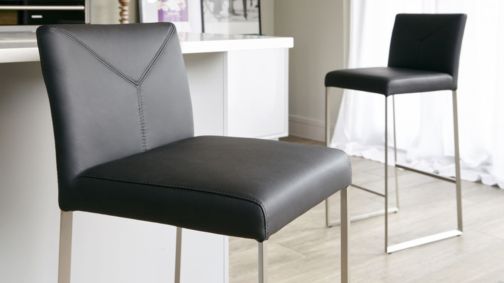 Black Real Leather Bar Stools