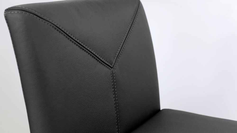 Black Real Leather Bar Stool