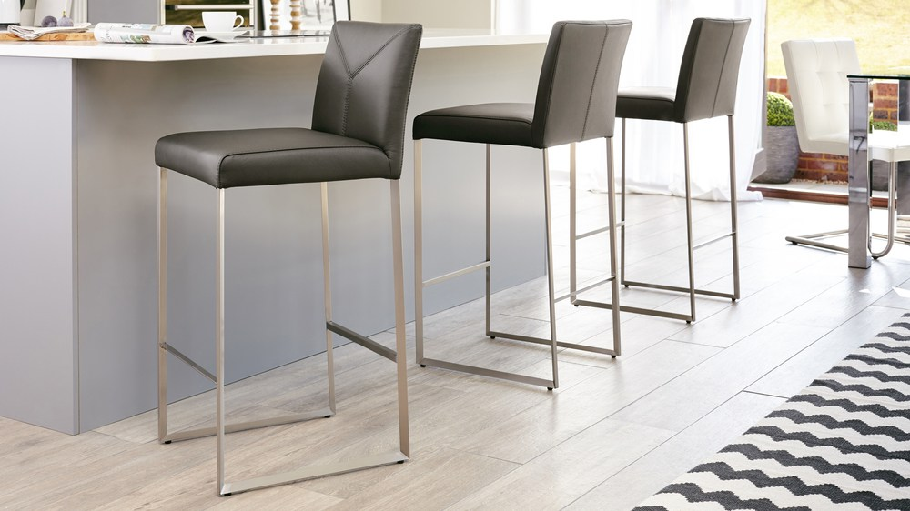 Grey Real Leather Bar Stools