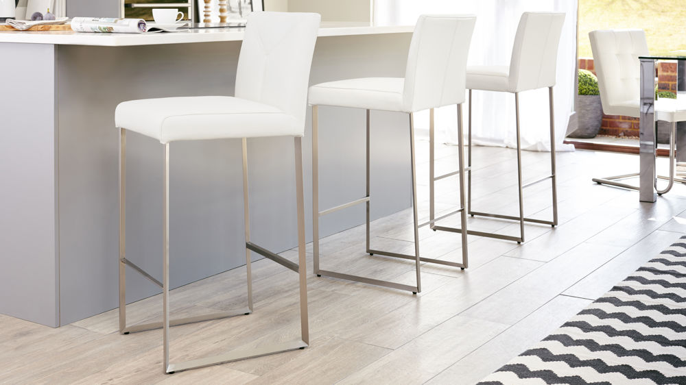 White Real Leather Bar Stools