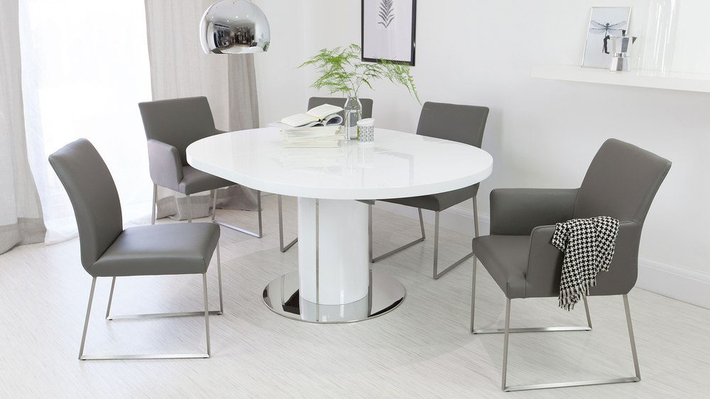Stylish Real Leather Dining Chairs and White Gloss Dining Table