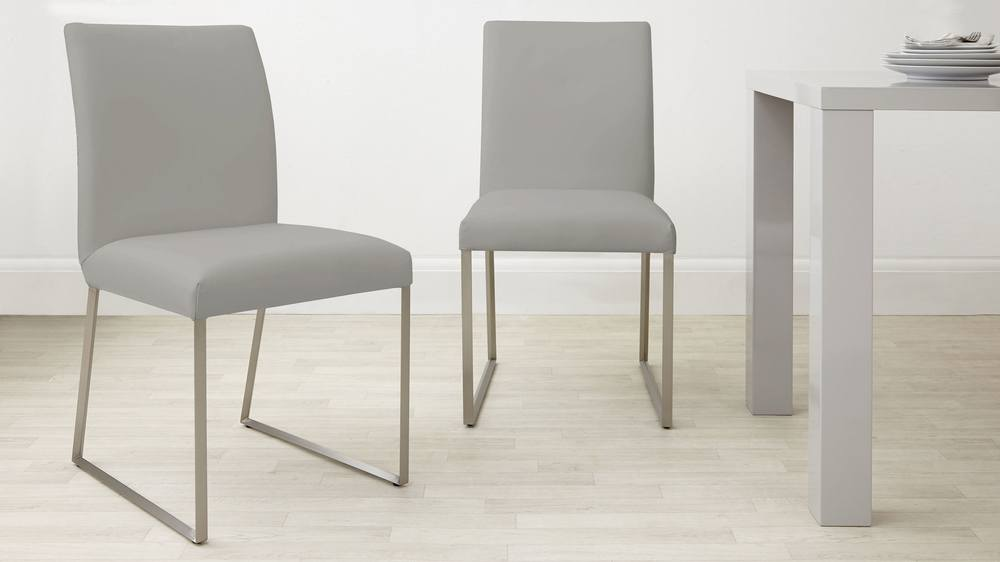 Cool grey leather dining chair