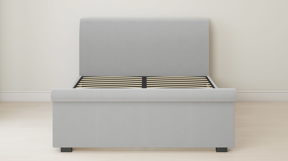 velvet grey sleigh bed