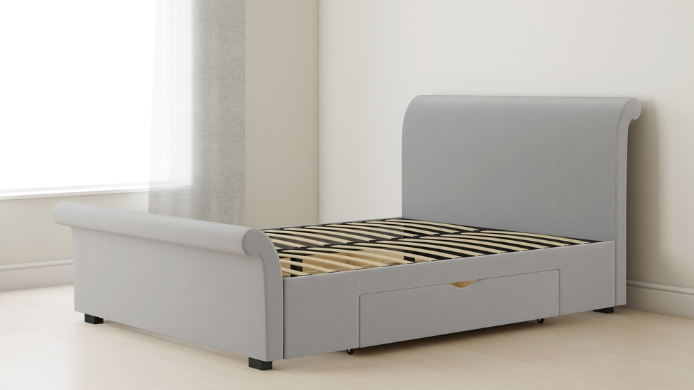 light grey storage sleigh bed