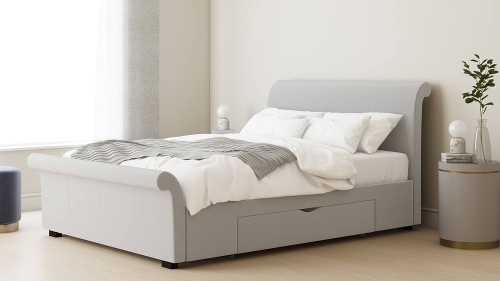 light grey sleigh bed in velvet