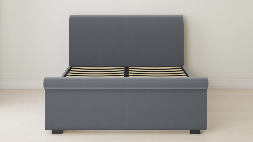 dark grey velvet sleigh bed