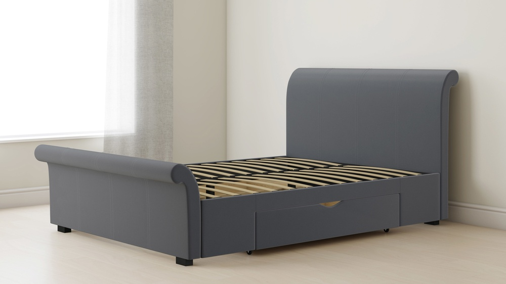 storage sleigh bed with drawers