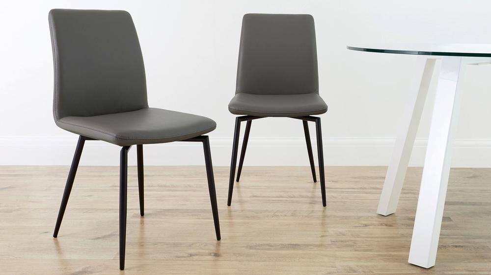 Dark grey real leather dining chairs