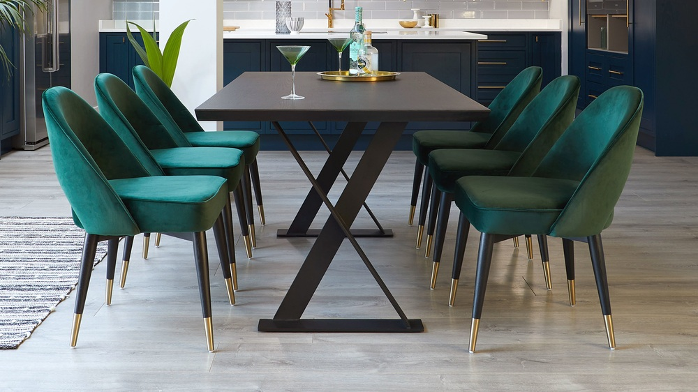 fern green velvet dining chair