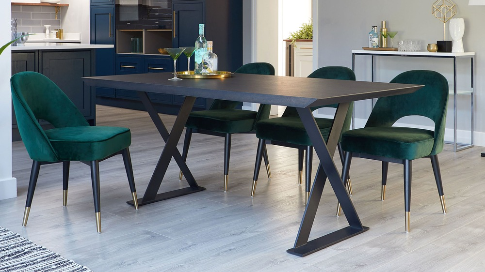 Dark washed oak dining table