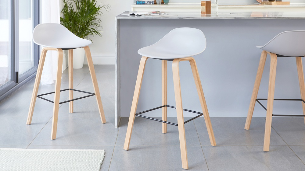 Cool grey and wooden bar stools