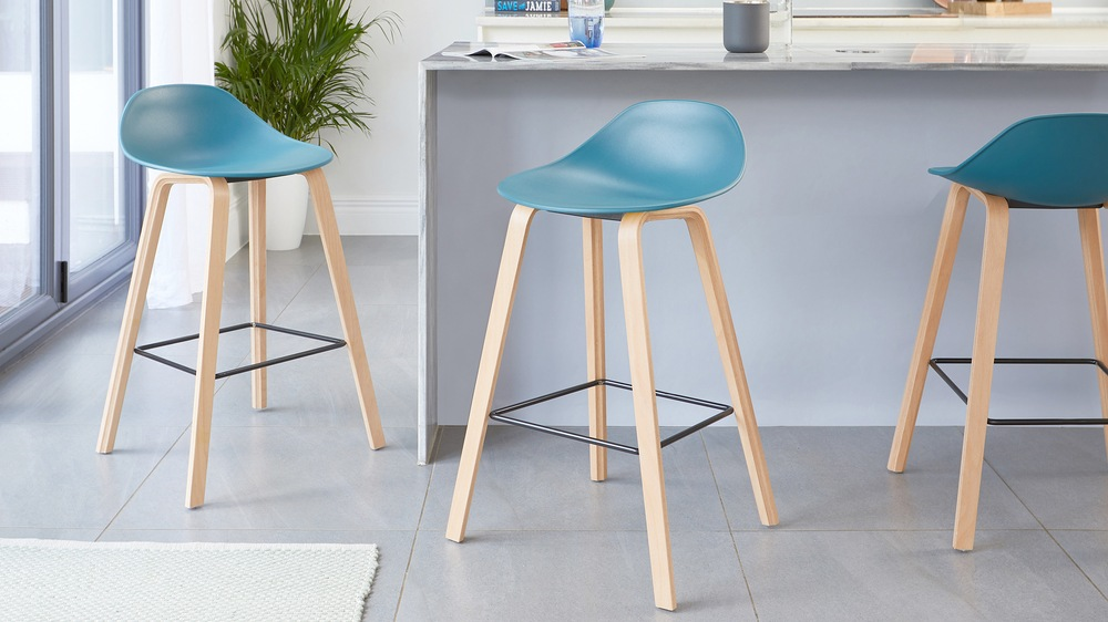Teal and wooden modern bar stools