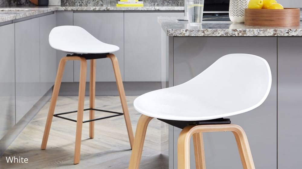 White and wooden bar stools