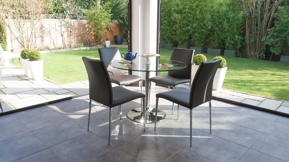 Glass 4 Seater Dining Table and Black Dining Table