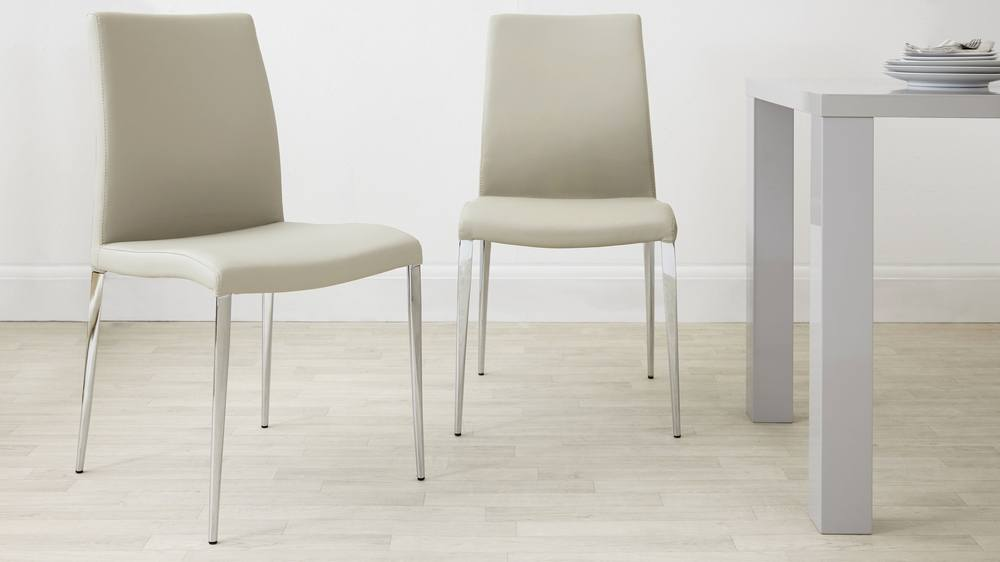 Light Cream Dining Chairs with Chrome Legs