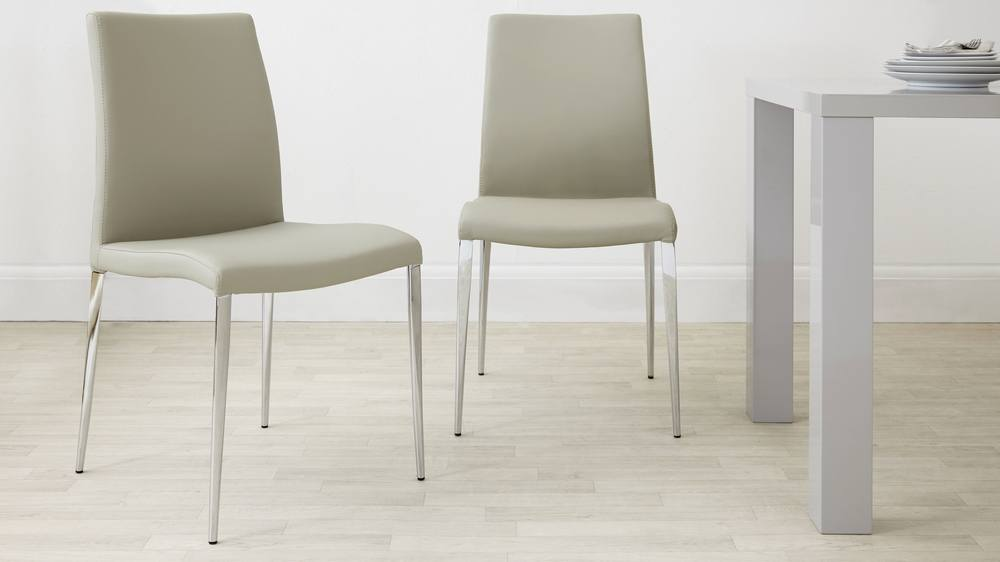 Modern Beige Dining Chairs with Chrome Legs