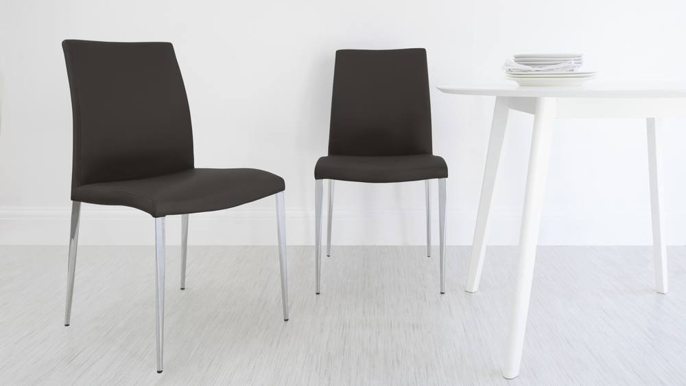 Modern Brown Dining Chairs with Chrome Legs