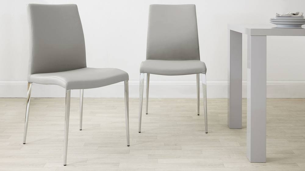 Modern Light Grey Dining Chairs with Chrome Legs