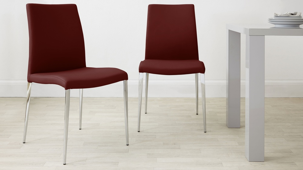 Modern Maroon Dining Chairs with Chrome Legs