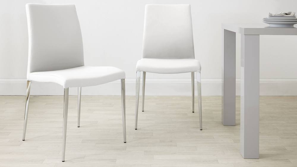 Modern White Dining Chairs with Chrome Legs