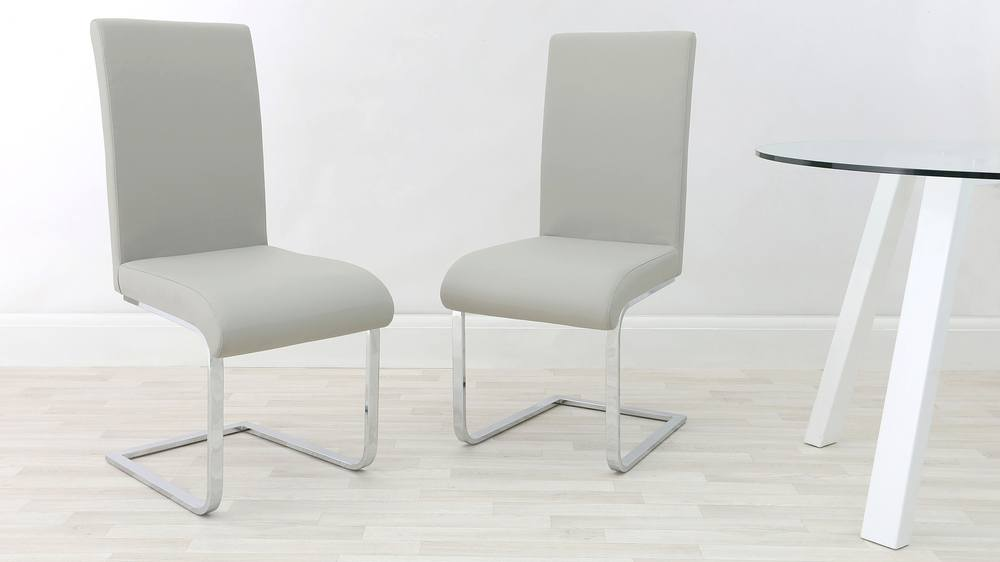 Light Grey Cantilever Dining Chair