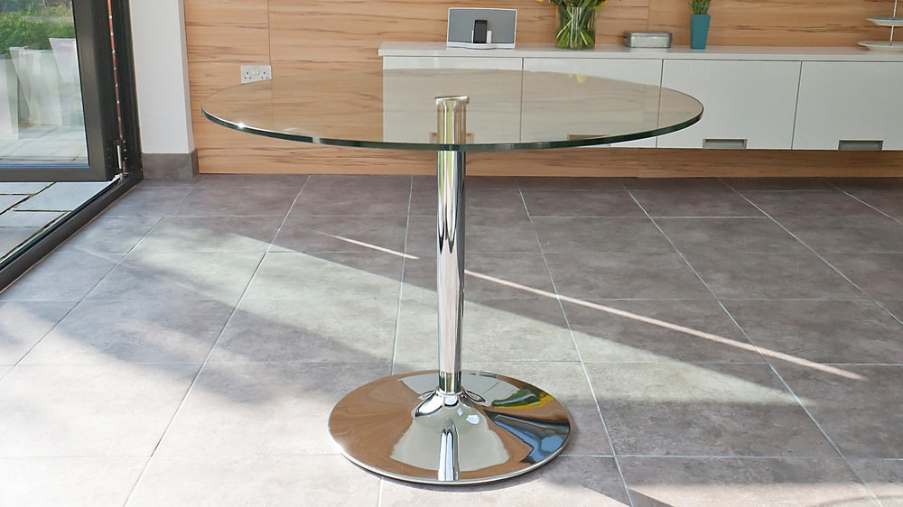 Large Round Glass and Chrome 4 Seater Dining Table