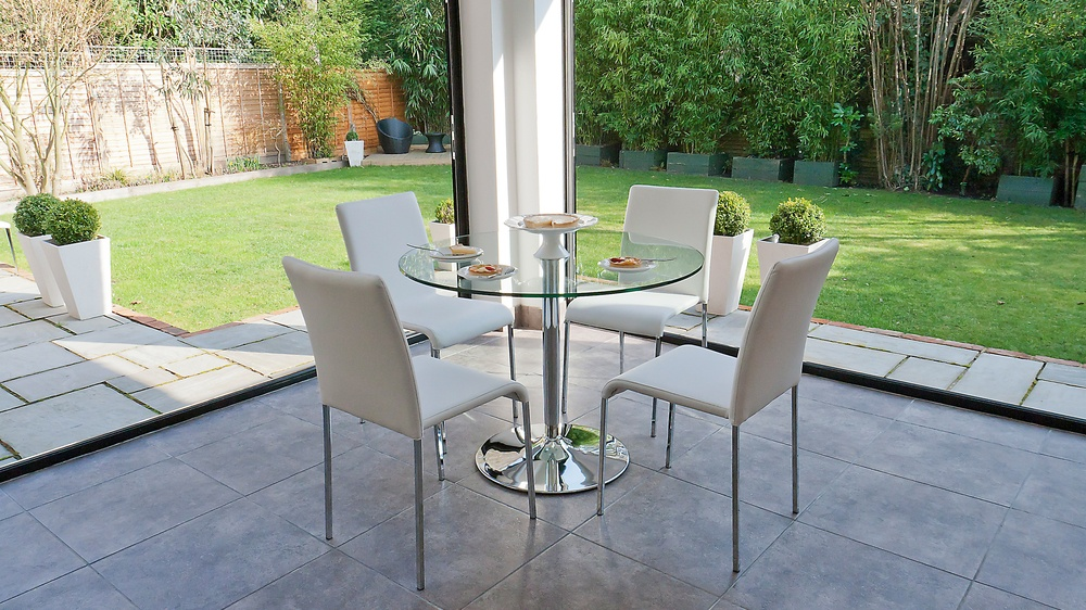 Clear Glass 4 Seater Dining Set UK