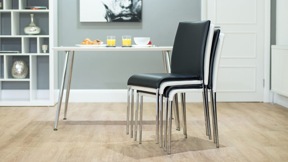 Black and White Stackable Dining Chairs
