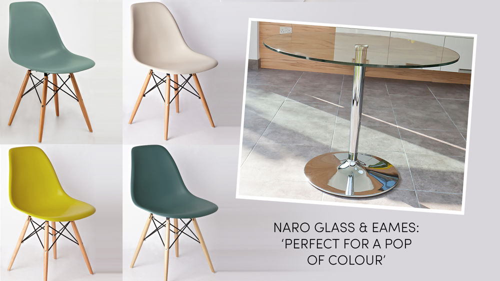 Round Glass Dining Table And Coloured Eames Dining Chairs