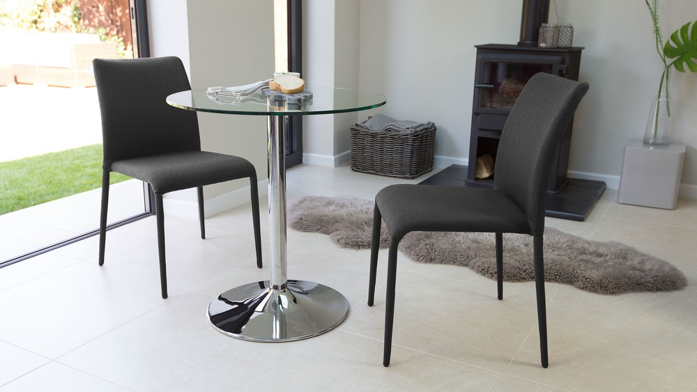 Two Seater Round Glass Dining Set Stackable Chairs Uk