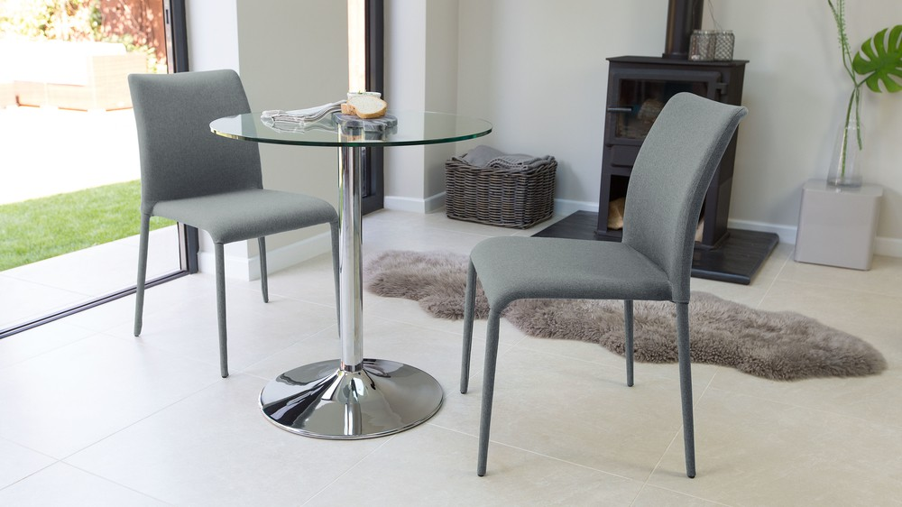 Fabric Dining Chairs and Round Glass Dining Table