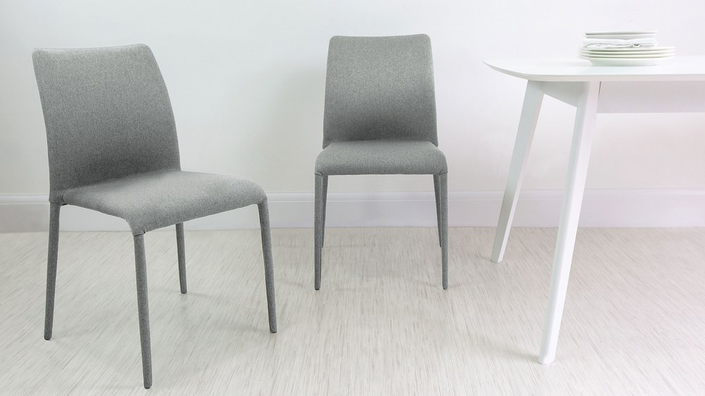 Light Grey Fabric Dining Chairs