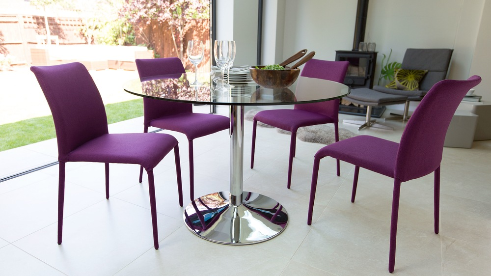 High Backed Dining Chairs and Round Dining Table