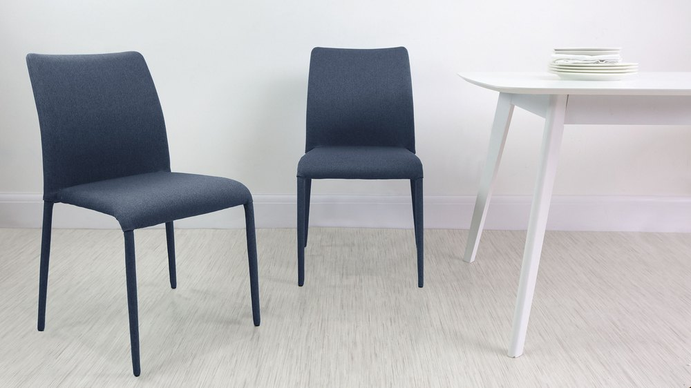 Dark Blue Fabric Dining Chairs