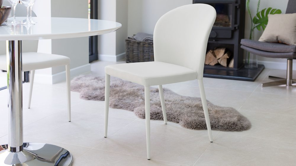 High Backed White Dining Chair